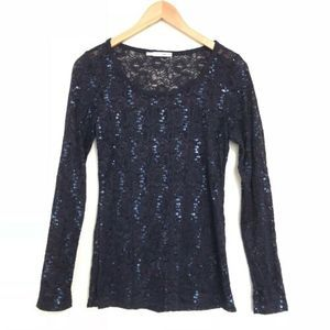 Maurices Lace Overlay Long Sleeve Shirt w/Sequins